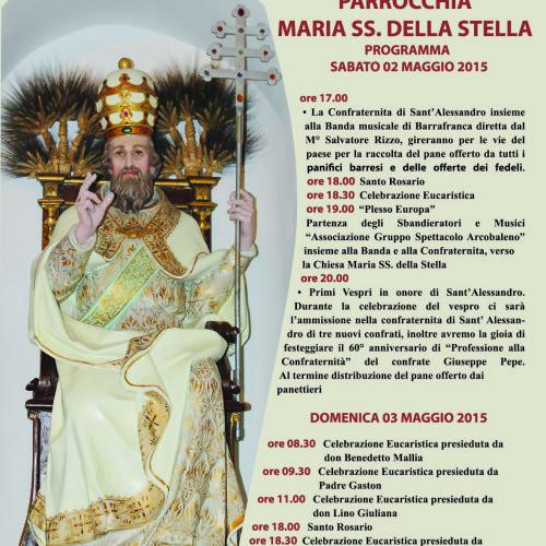 Programma dei festeggiamenti in onore del patrono SANT'ALESSANDRO papa e martire