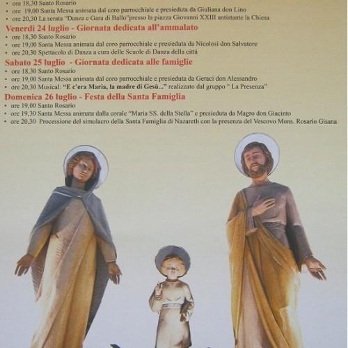 Inizio festeggiamenti in onore della Santa Famiglia di Nazareth