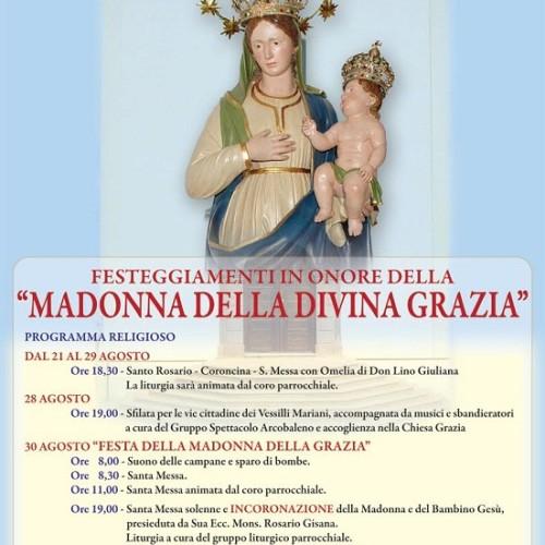 PROGRAMMA  RELIGIOSO dei festeggiamenti in onore della MADONNA DELLA DIVINA GRAZIA