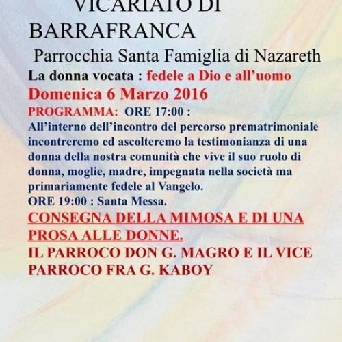 """Incontro sul tema """"La donna vocata: fedele a Dio e all'uomo"""", organizzato dalla parrocchia Santa Famiglia di Nazareth"""