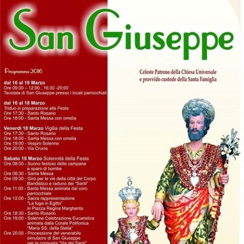 Programma dei festeggiamenti in onore di san Giuseppe