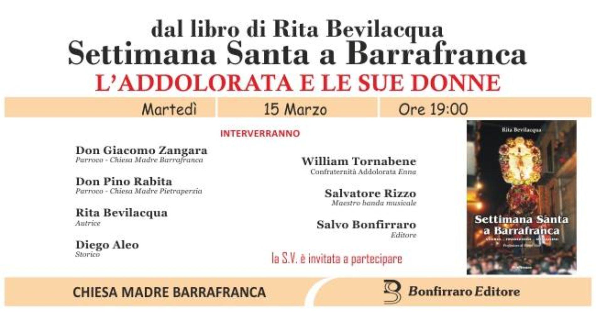"""""""L'Addolorata e le sue donne"""" dal libro di Rita Bevilacqua """"Settimana Santa a Barrafranca"""""""