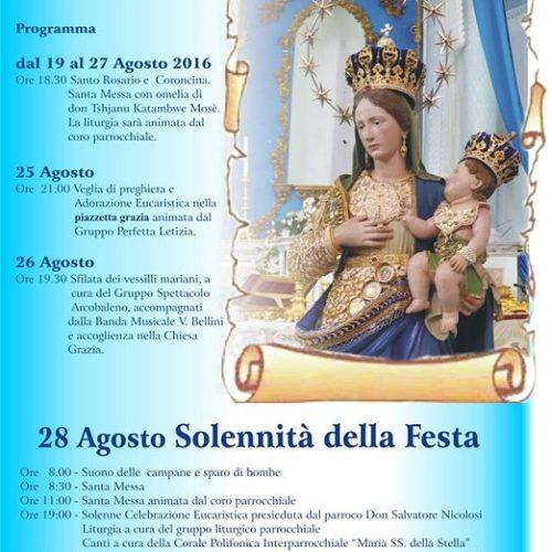 Programma dei festeggiamenti in onore della Madonna della Grazia 2016