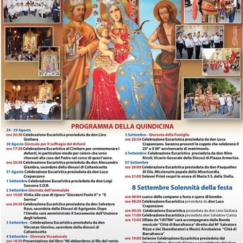 Programma 2016 dei festeggiamenti in onore di Maria SS. della Stella, patrona di Barrafranca