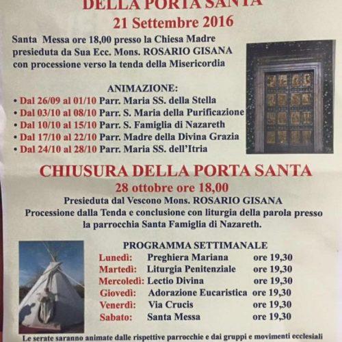 Vicariato di Barrafranca- apertura della PORTA SANTA