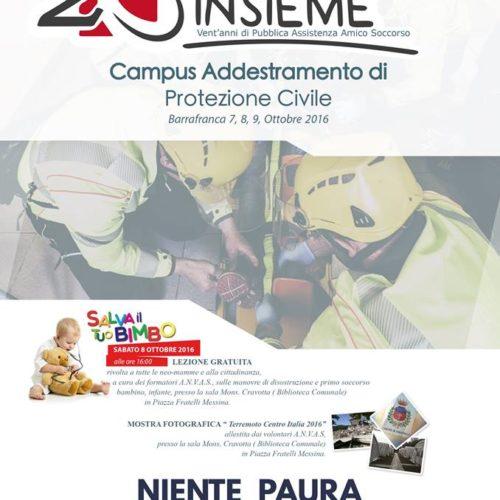 Protezione Civile, 7, 8, 9 Ottobre campus di addestramento a Barrafranca