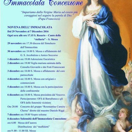 Festeggiamenti in onore  dell'Immacolata Concezione- chiesa di san Francesco