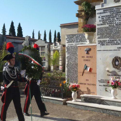 Cerimonia in onore del carabiniere Gaspare Farulla alla presenza dei massimi vertici provinciali dell'Arma