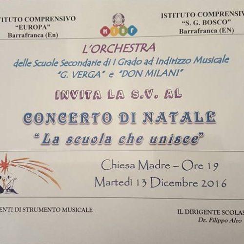 """CONCERTO DI NATALE """"La scuola che unisce""""- l'orchestra delle scuole VERGA e DON MILANI"""