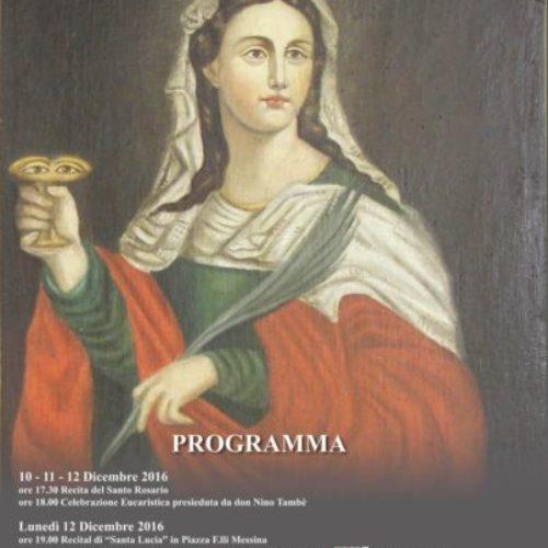 Programma dei festeggiamenti in onore di Santa Lucia
