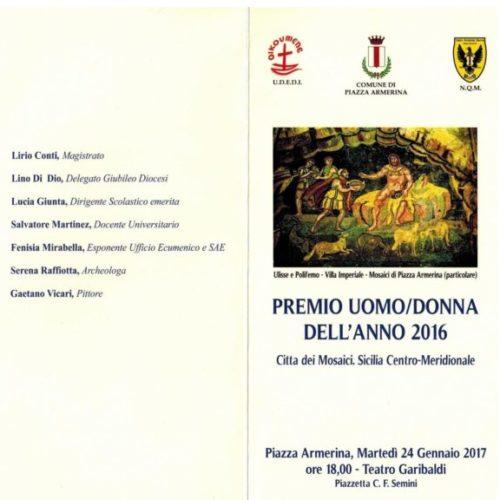 """Premio """"Uomo/Donna dell'Anno"""", domani la cerimonia di consegna al Teatro Garibaldi di Piazza Armerina"""