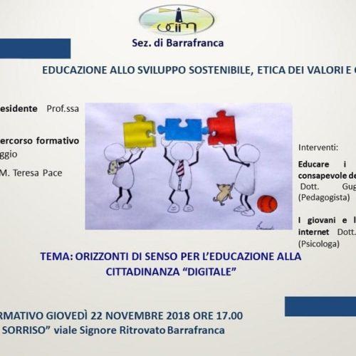 Seminario formativo organizzato dall'UCIIM dal titolo EDUCAZIONE  ALLO SVILUPPO SOSTENIBILE, ETICA DEI VALORI E CONVIVENZA CIVILE.