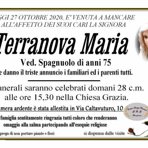 Annuncio servizi funerari G.B.G signora Terranova Maria ved. Spagnolo anni 75