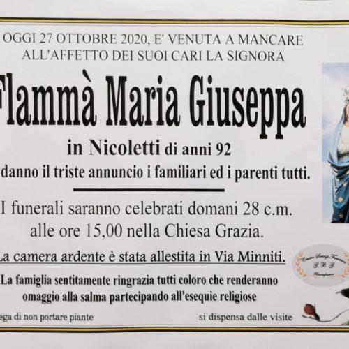 Annuncio servizi funerari agenzia G.B.G. sig.ra Flammà Maria Giuseppa in Nicoletti di anni 92