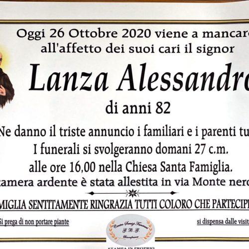 Annuncio servizi funerari agenzia G.B.G. sig. Lanza  Alessandro anni 82