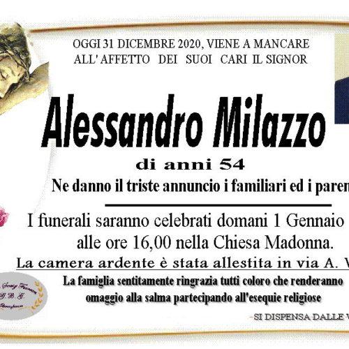 Annuncio servizi funerari agenzia G.B.G sig. Alessandro Milazzo di anni 54
