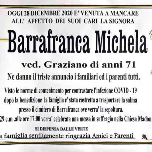 Annuncio servizi funerari agenzia G.B.G. sig.ra Barrafranca Michela ved  Graziano di anni 71