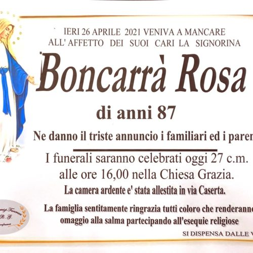 Annuncio servizi funerari agenzia G.B.G. sig.ra Boncarrà Rosa di anni 87