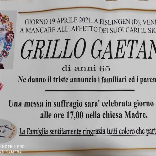 Annuncio servizi funerari agenzia G.B.G. sig. Grillo Gaetano di anni 65