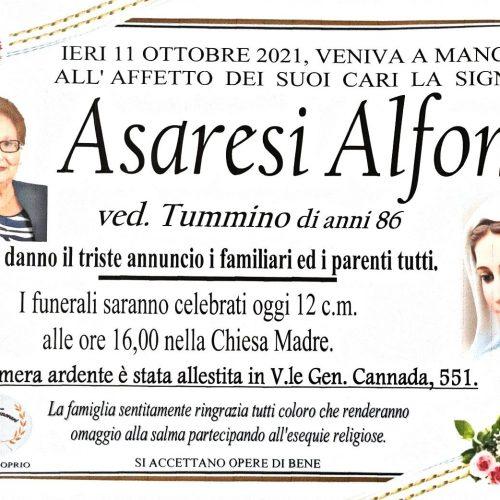 Annuncio servizi funerari agenzia G.B.G. sig.ra Asaresi Alfonsa ved. Tummino di anni 86
