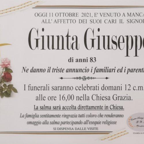 Annuncio servizi funerari agenzia G.B.G. sig. Giunta Giuseppe di anni 83