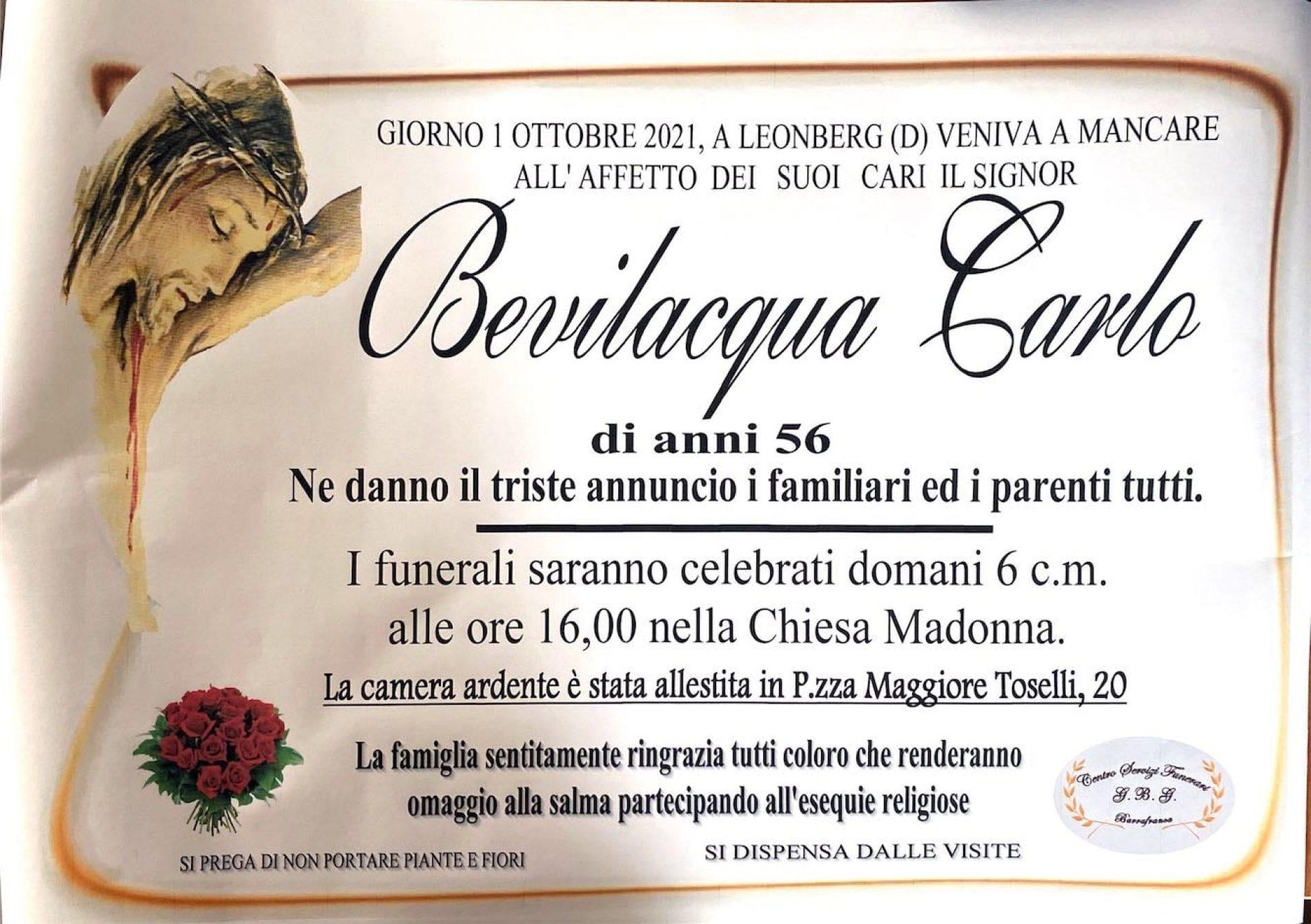 Annuncio servizi funerari agenzia G.B.G. sig Bevilacqua Carlo di anni 56