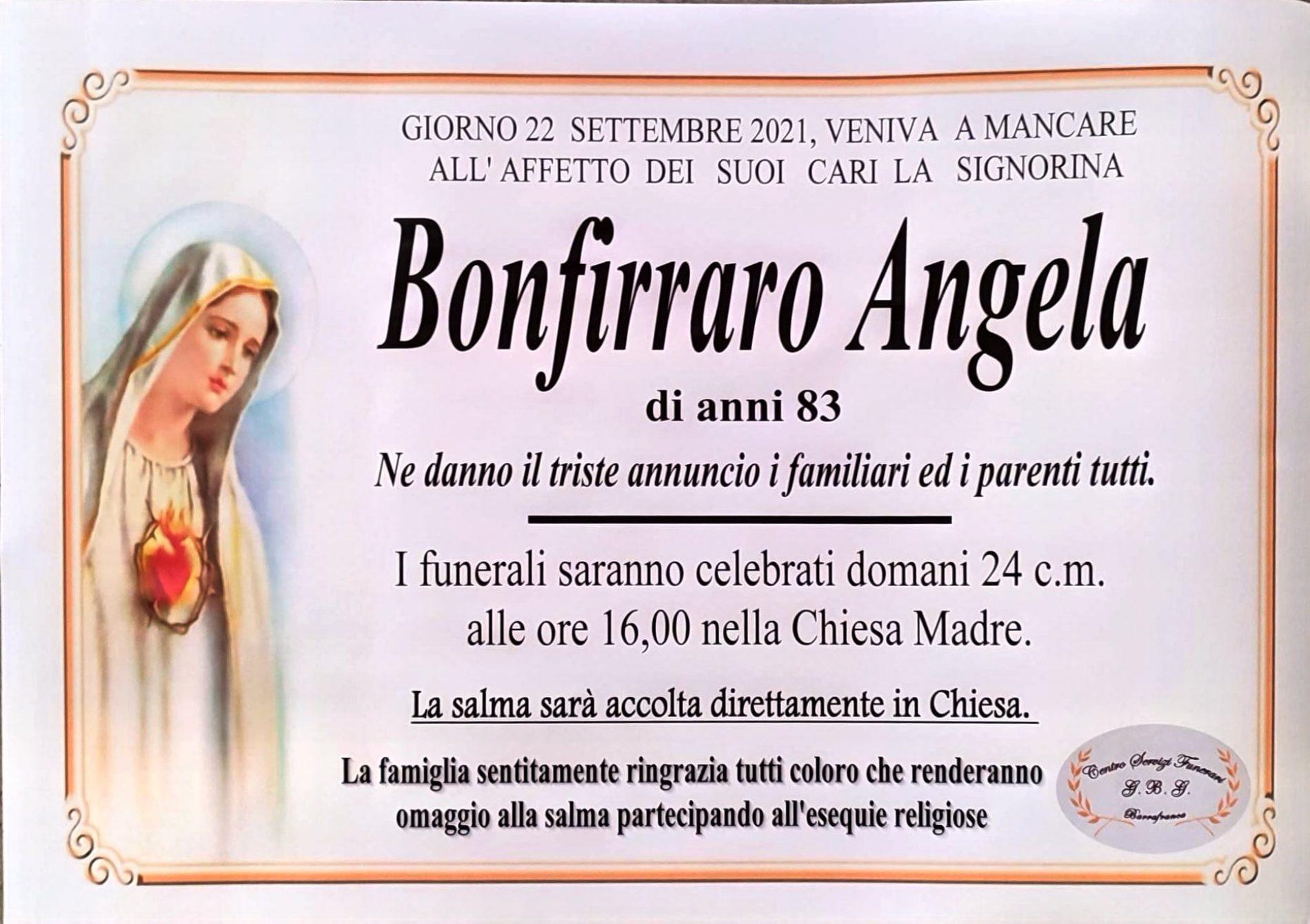 Annuncio servizi funerari agenzia G.B.G. sig.ra Bonfirraro Angela di anni 83