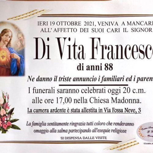 Annuncio servizi funerari agenzia G.B.G. sig. Di Vita Francesco di anni 88