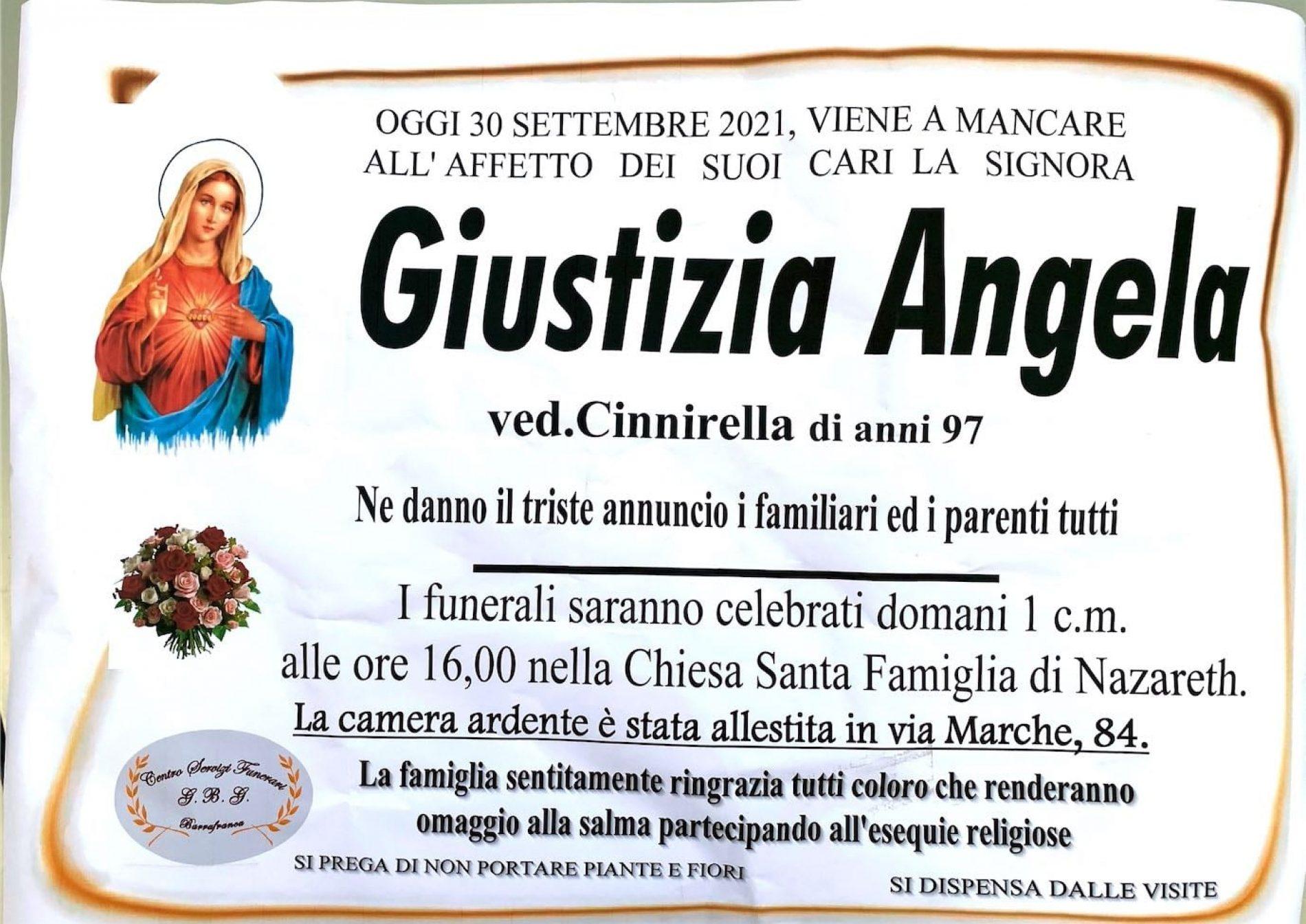 Annuncio servizi funerari agenzia G.B.G. sig.ra Giustizia Angela ved. Cinnirella di anni 97