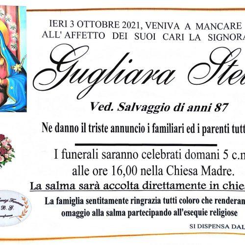 Annuncio servizi funerari agenzia G.B.G. sig.ra Gugliara Stella ved. Salvaggio di anni 87