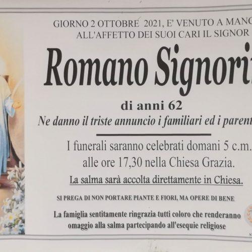 Annuncio servizi funerari agenzia G.B.G. sig Romano Signorino di anni 62